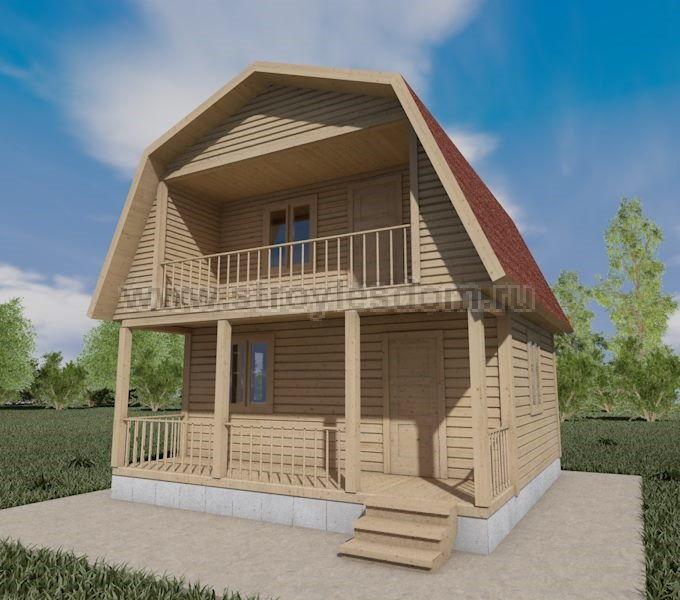 Дачный дом 6 на 6 с террасой