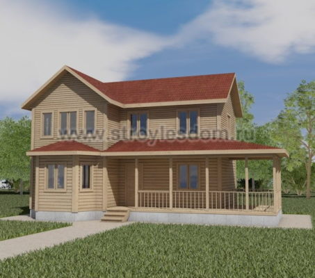 Двухэтажный дом 7 на 9 с террасой