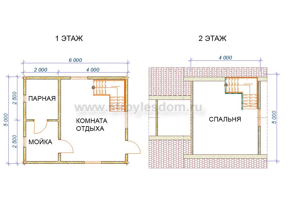 планировка бани в полтора этажа