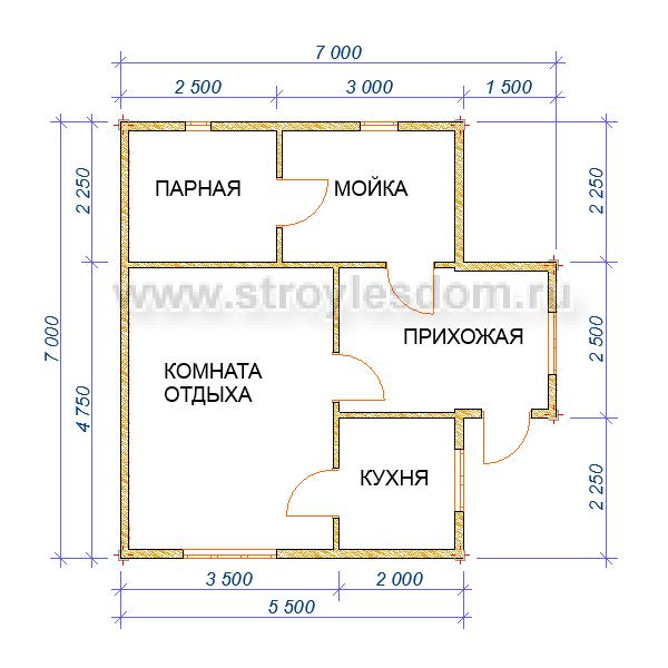 планировка бани 7х7