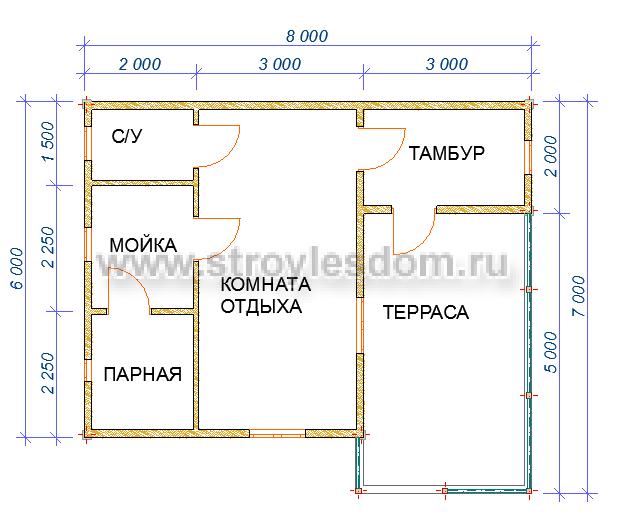 планировка бани 7х8
