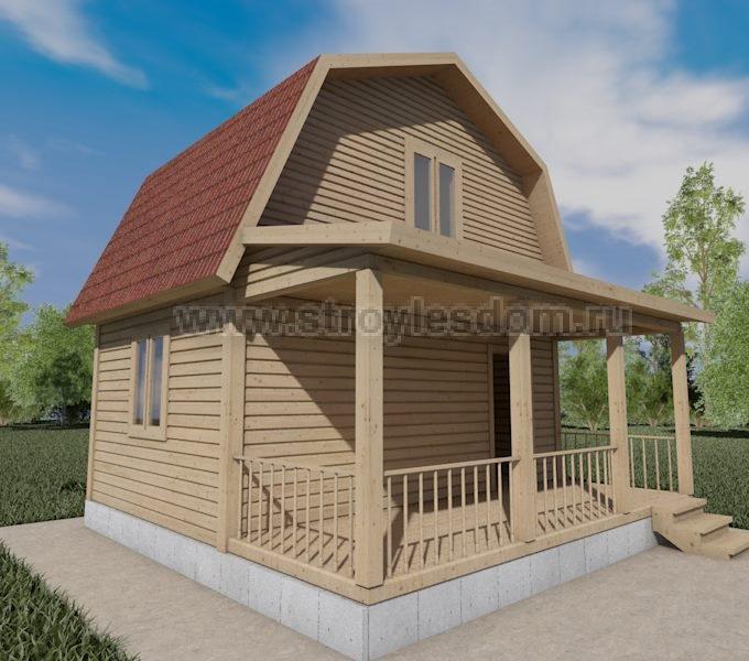 Брусовой дом с террасой и мансардой