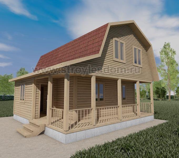 Брусовой дом 7.5Х7.5 с террасой