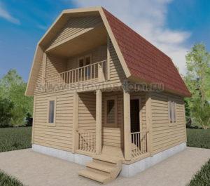 брусовой дом с балконом и крыльцом