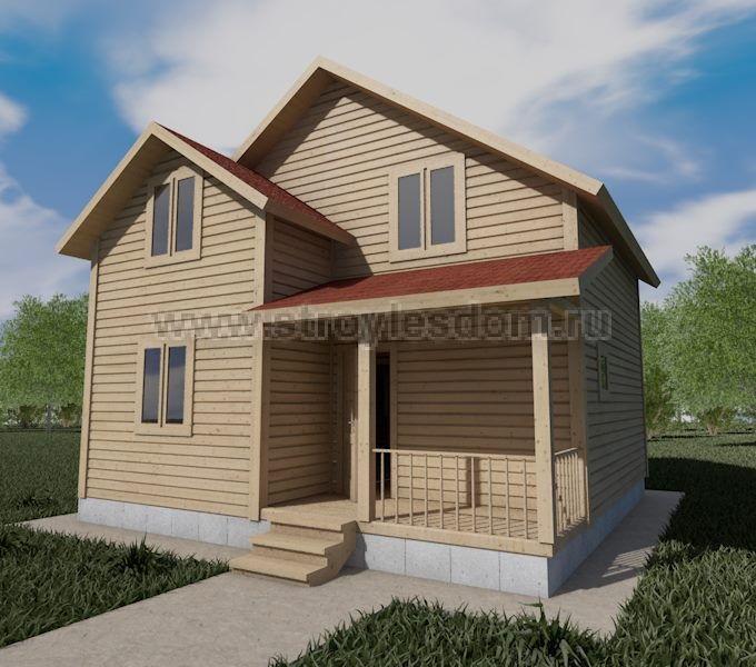 Брусовой дом с крыльцом
