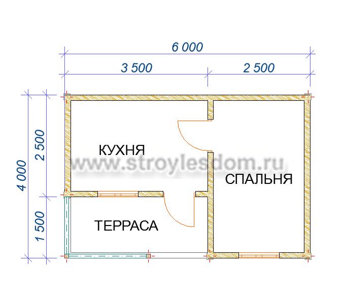 планировка одноэтажного дома 4х6