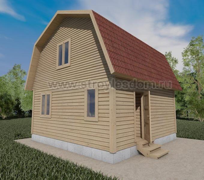 Дом из бруса с ломаной крышей