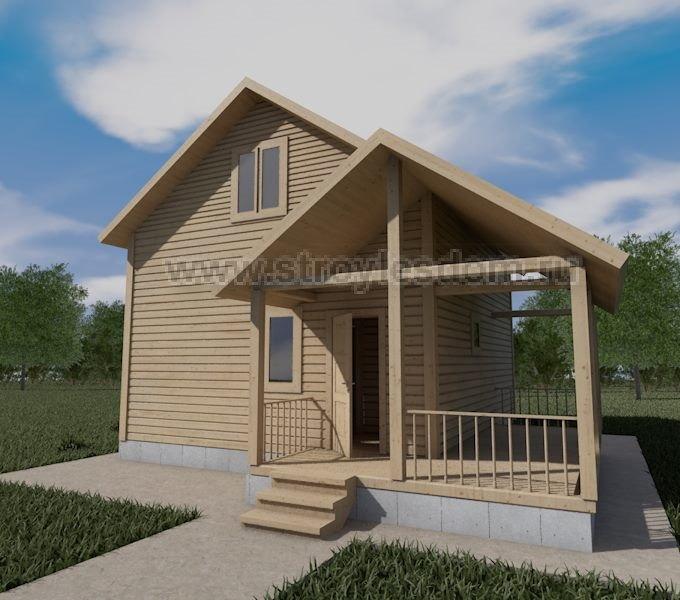 Дом из бруса с угловой террасой