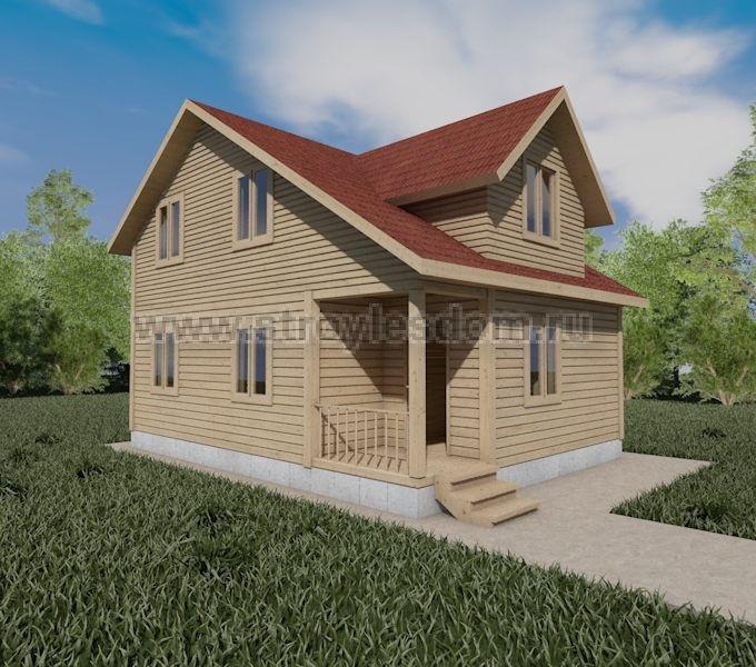 Дом из бруса 6Х8 с крыльцом