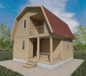 Дом из бруса с балконом и крыльцом