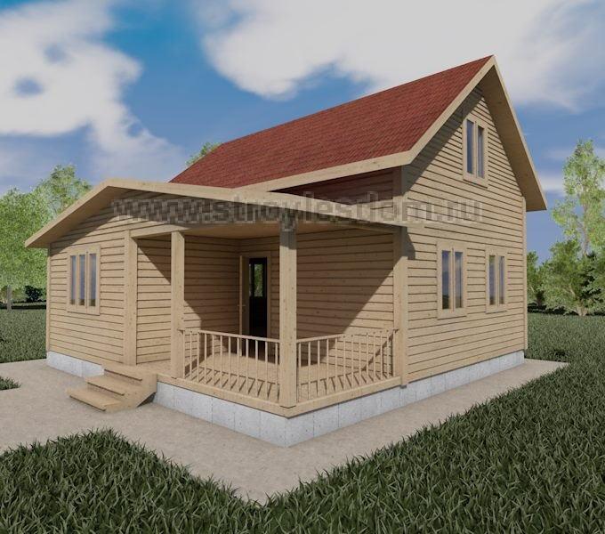 Дом 8Х8 из бруса с крыльцом
