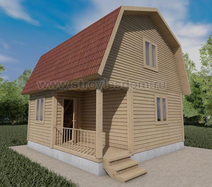 Дом для дачи из бруса с крыльцом