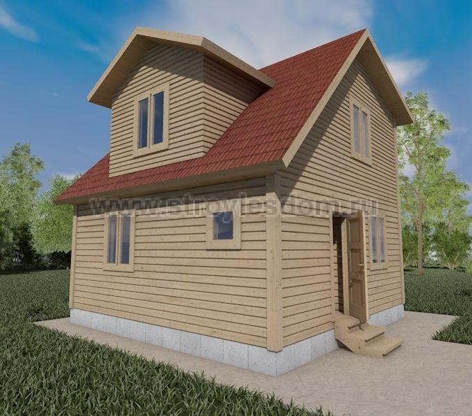 Дом из бруса с каркасно щитовой мансардой