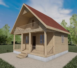 Дом из бруса с балконом и террасой