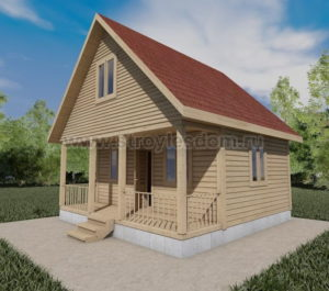 дом 6х6 из бруса с террасой