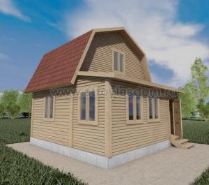 Дом из бруса с верандой 6х6