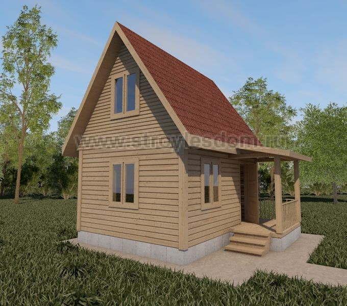 Дачный дом из бруса с крыльцом