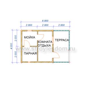 планировка одноэтажной бани из бруса