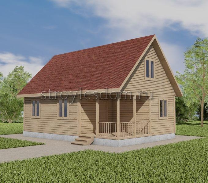 Дом 6х9 из бруса с террасой
