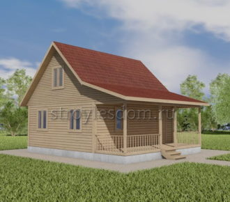 дом 7х8 из бруса с террасой