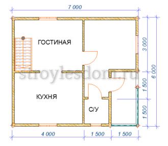 План 1 этажа дома 6х7 с балконом