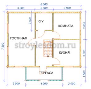 планировка первого этажа дома из профилированного бруса с террасой