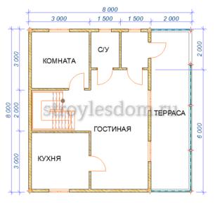 планировка первого этажа дома 8х8 из бруса