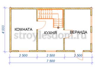 планировка дома 4х7,5 из бруса