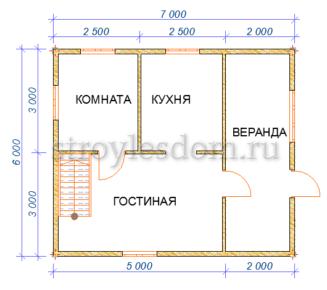 планировка 1 этажа дома 7 на 6 из бруса